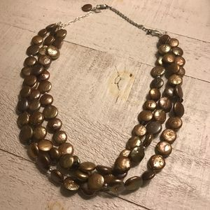 Silpada Bronze Coin Pearl Necklace